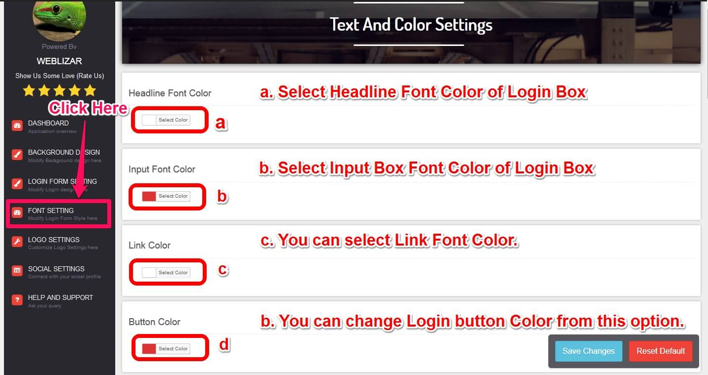 acl-text-and-color-setting