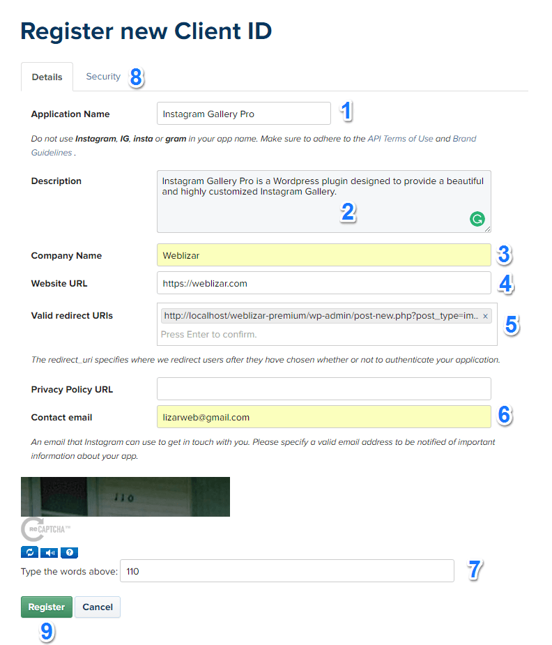 Image of register client id