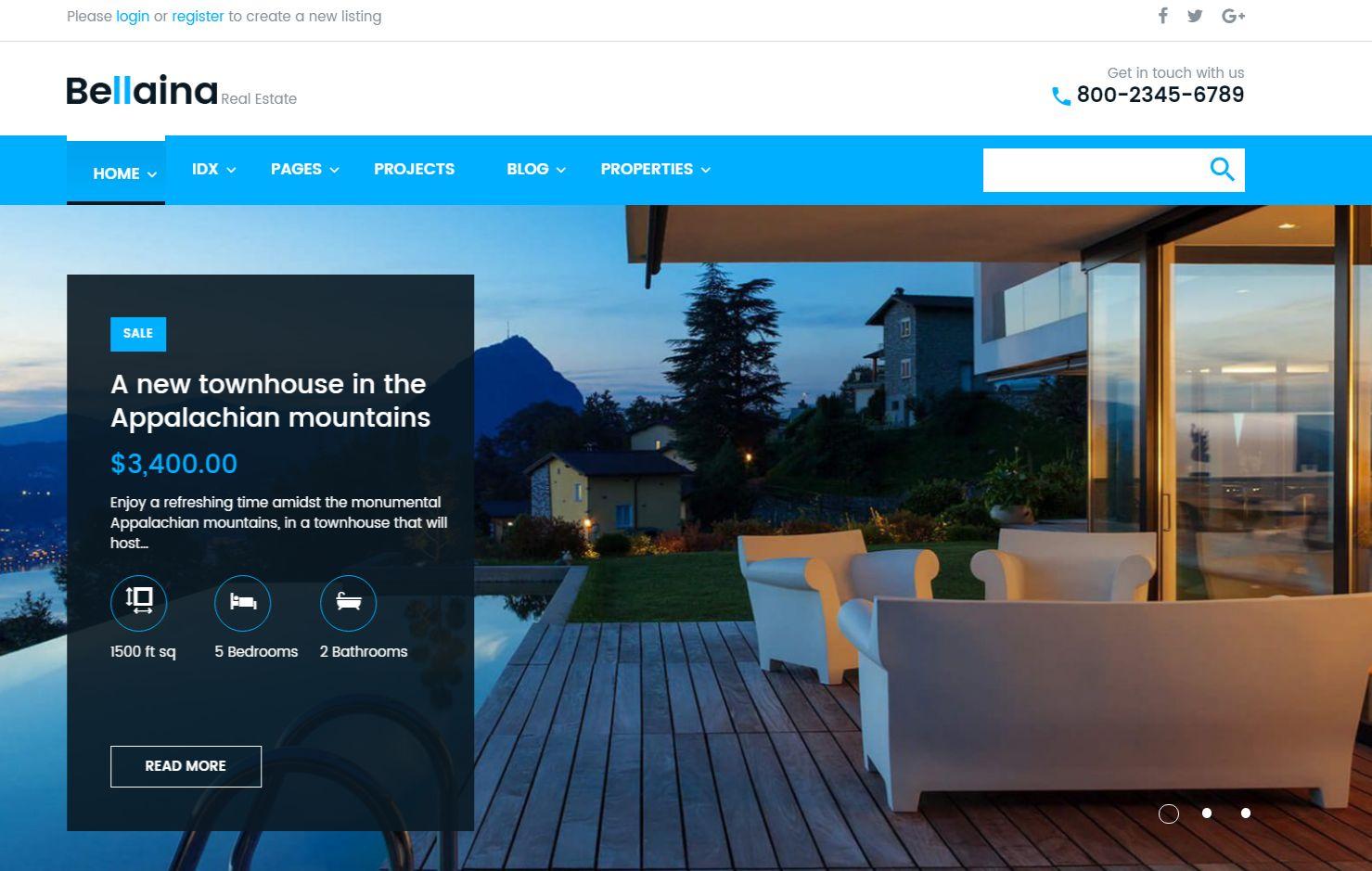 Bellaina Real Estate Responsive WordPress Theme