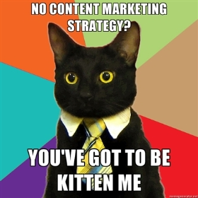 content marketing black kitten sitting