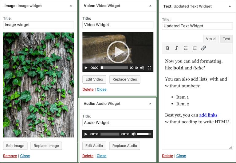 latest wordpress update with all new four widgets