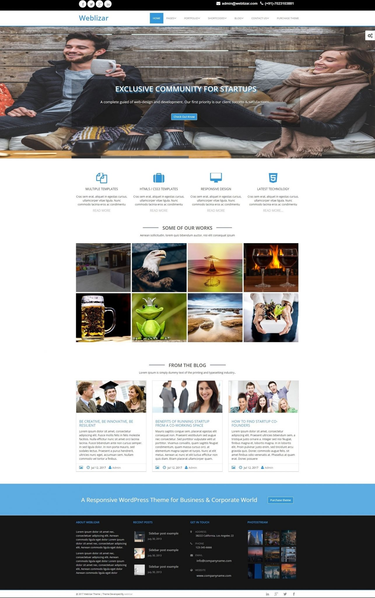 Image of weblizar premium theme