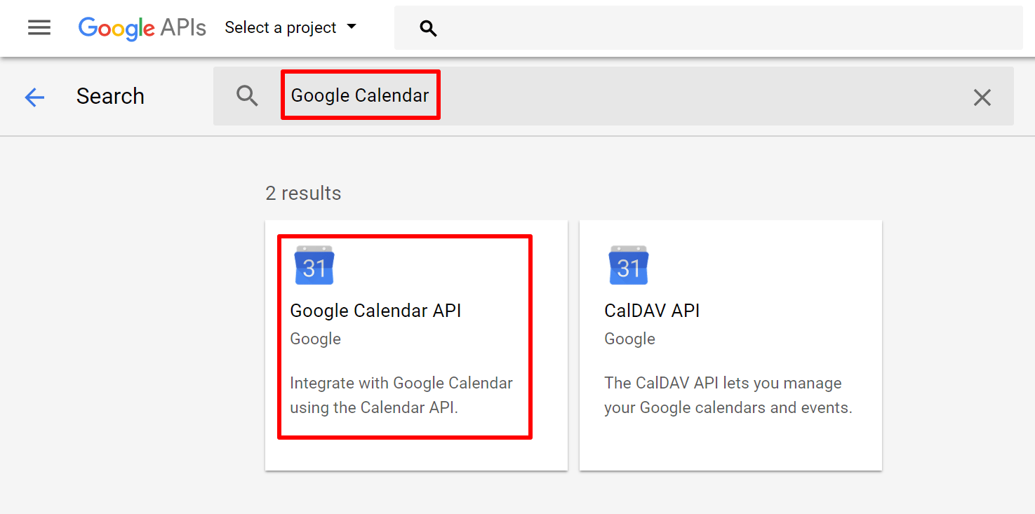 search for google calendar api