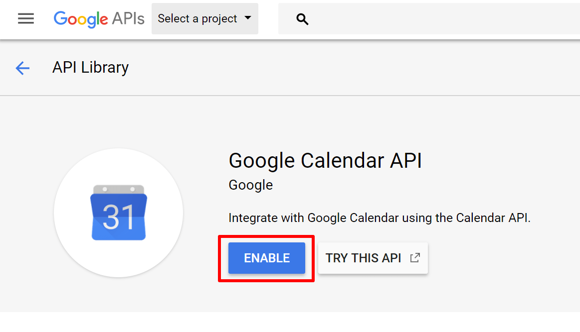 enable google api button