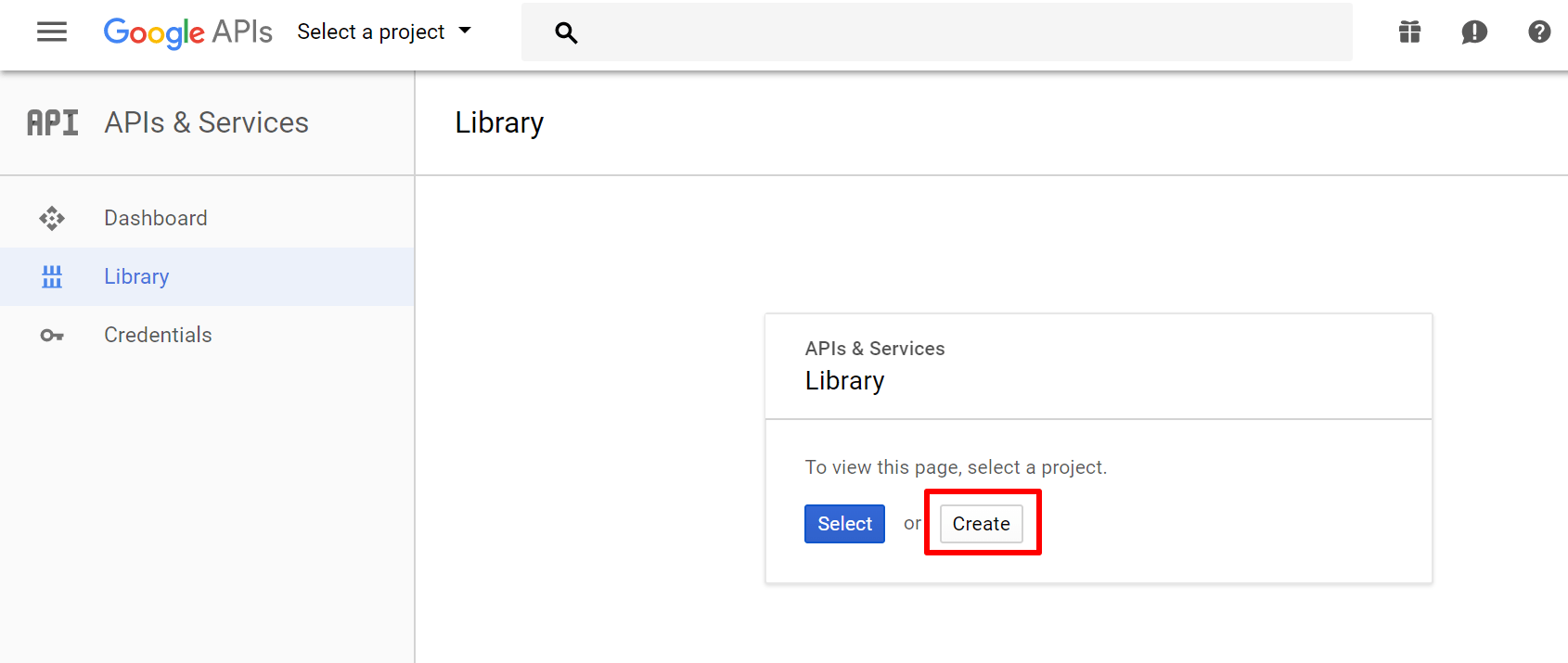 google api create a project