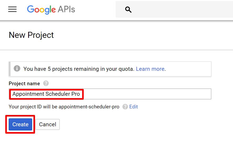 google api name the project and create