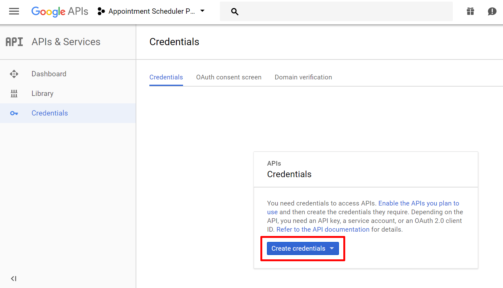 create project credentials for google calendar api
