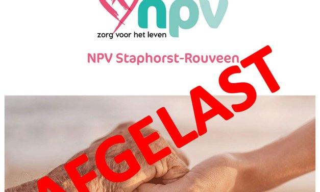 AFGELAST NPV-voorjaarsvergadering