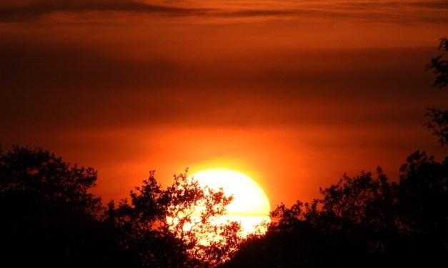 Supermaan en zonsondergang