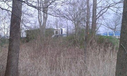 Vrachtwagen met snoeiafval gekanteld op Sluitersweg Rouveen