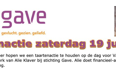 19 juni Taartenactie stichting Gave, gevlucht, gezien, geliefd