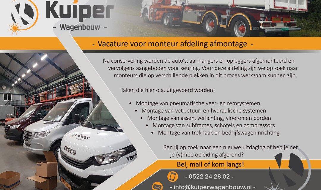 Kuiper wagenbouw: vacature voor Monteur afdeling montage