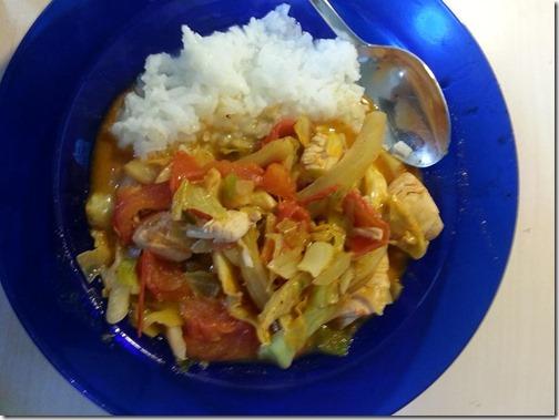Rode curry met kipdijfilet, venkel en spitskool._n