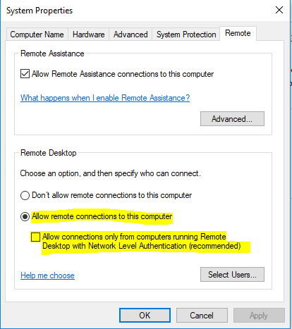 Allow Remote Connection