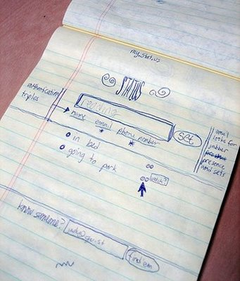 O esboço original de Jack Dorsey para o Stat.us, que depois viria a ser o Twitter