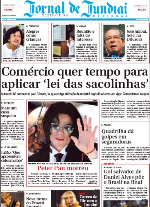 Detalhe da primeira página do Jornal de Jundiaí publicado em 26 de junho de 2009