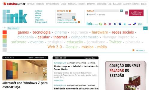 A home do Link, canal (e caderno impresso) de tecnologia do Estadão: bom exemplo de navegação temática e comandada pelo público