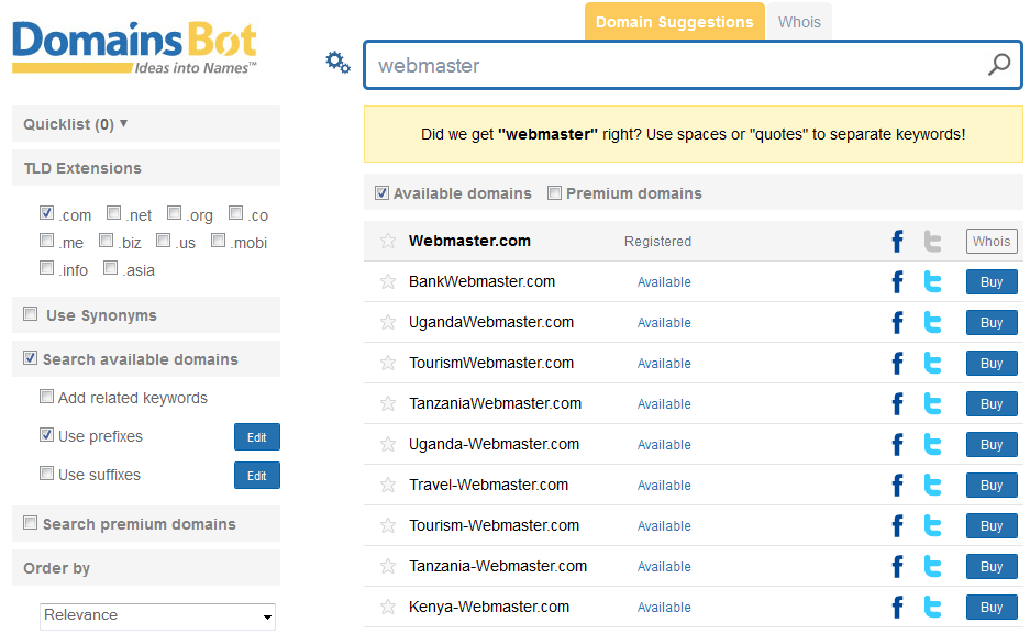 domain search with domiansbot.com