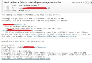 Sample of mail delivery failed from microsoft after blockage