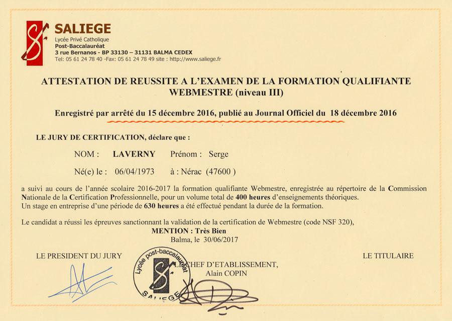 Je suis webmaster à Toulouse, Diplômé avec la mention très bien