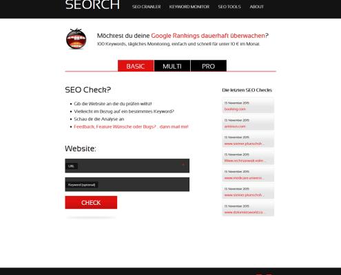 SEORCH Startscreen