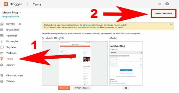 Blogger tema Yedekleme