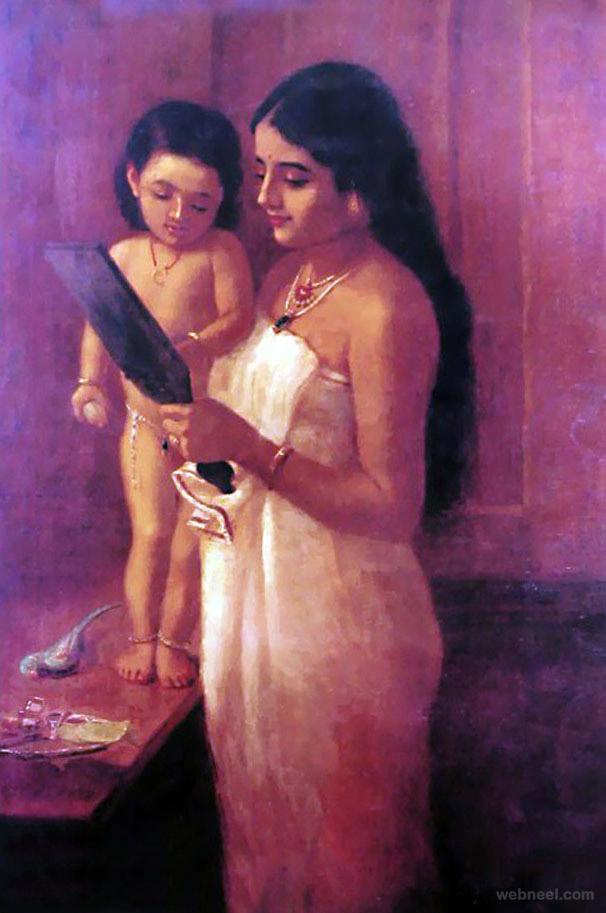 raja ravi varma old oil paintings kerala india portrait