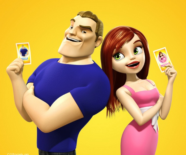 3D Character Design Battle-of-the-Sexes-Card-Game