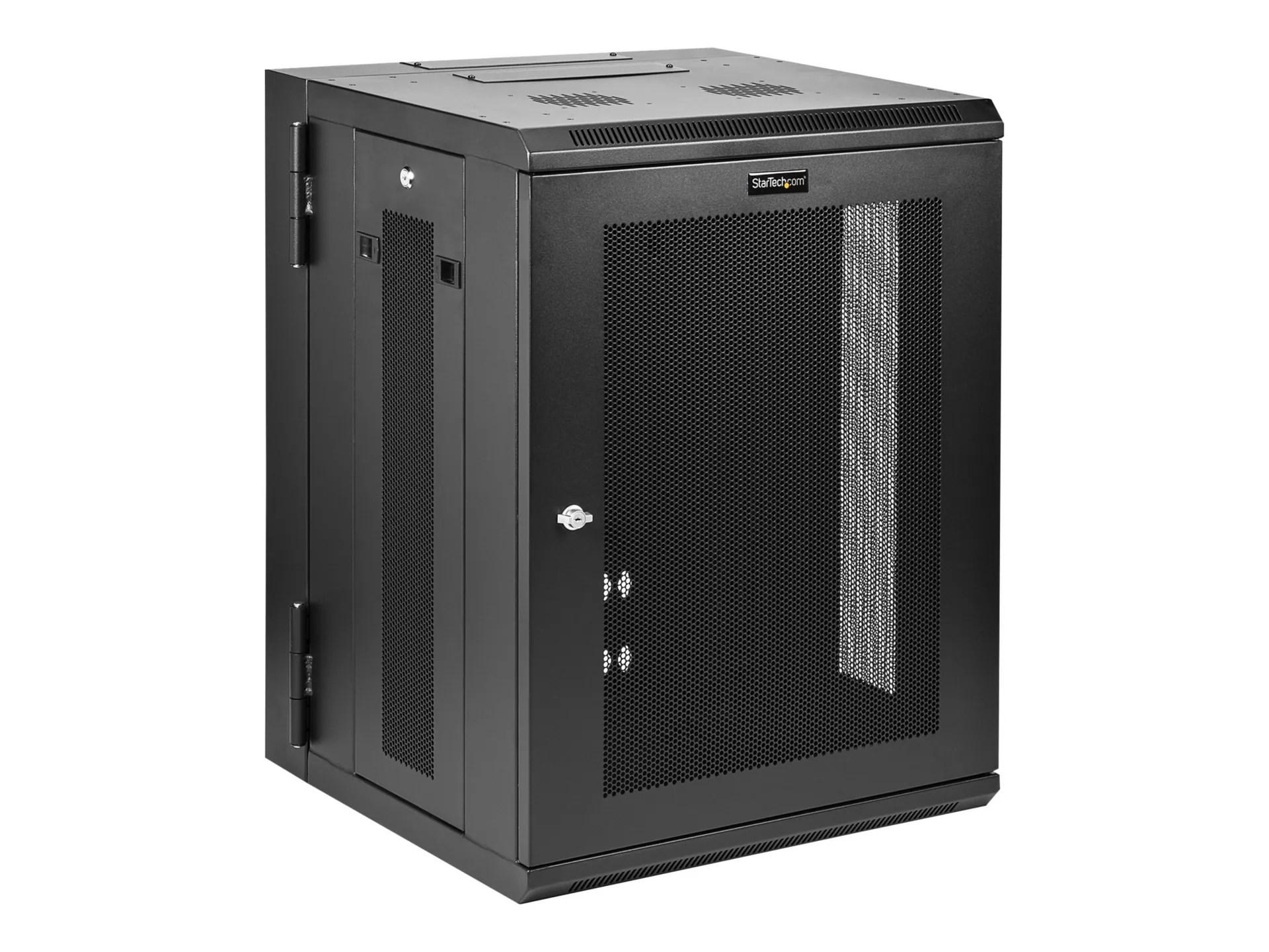 startech com 15u 19 wall mount network cabinet 16 deep hinged w shelf