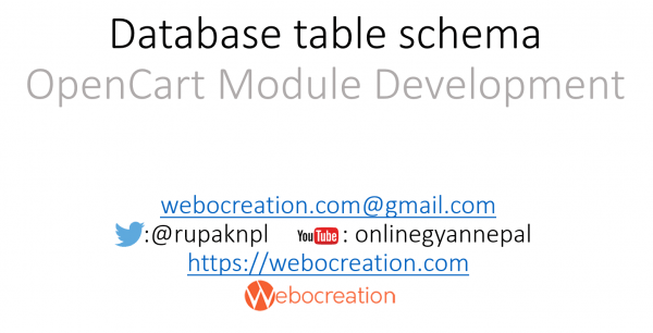 opencart database table schema