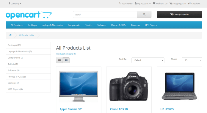 Show all products Opencart free module