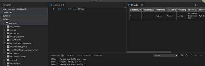 Query and its results in vscode