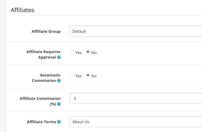 Opencart affiliate admin settings