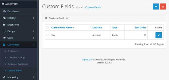Custom fields Opencart