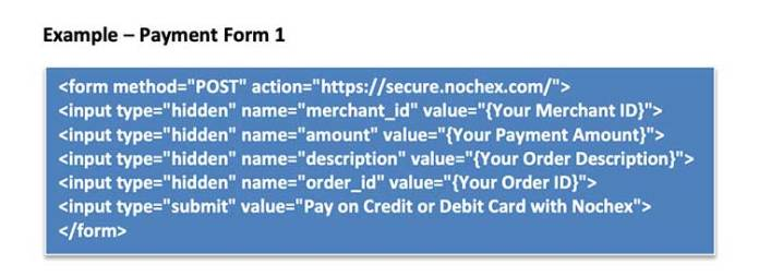 Off site payment form code