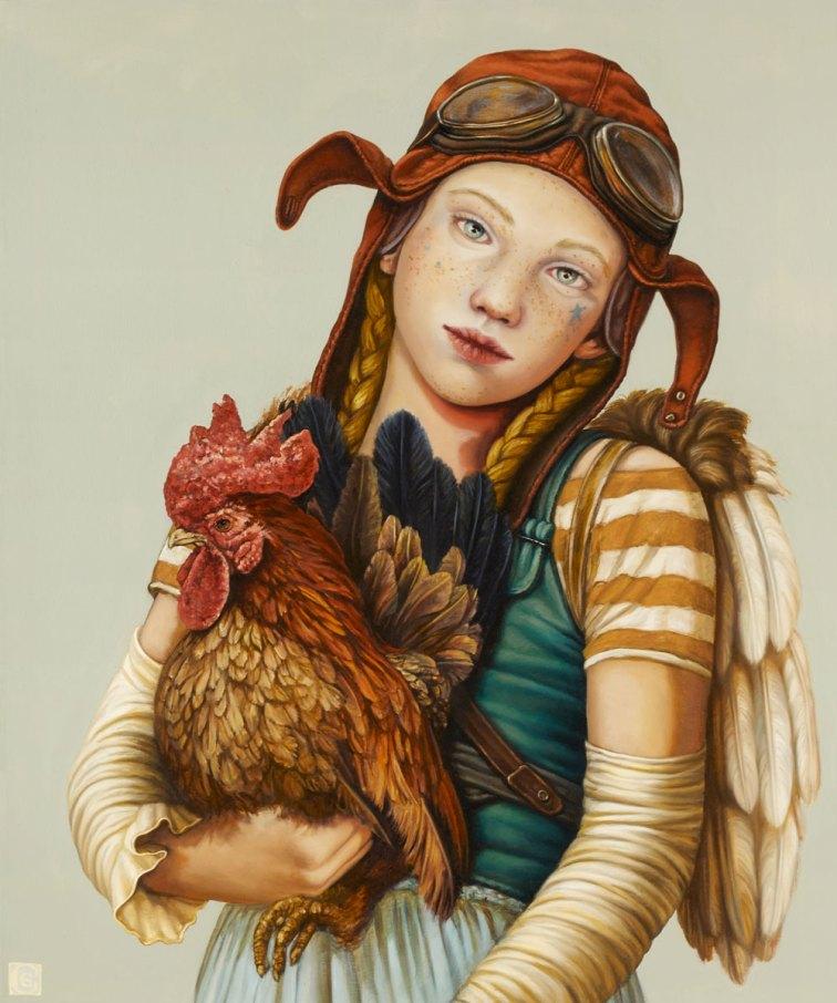 CLAUDIA GIRAUDO, Bimba aviatore con gallo, 2018, olio su tela, 60 x 50 cm