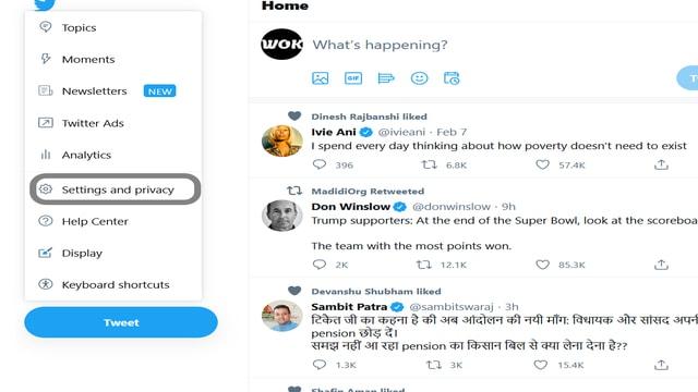 Twitter setting