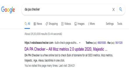 Search Da pa on google