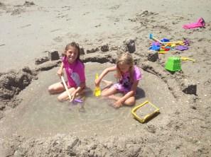 Lacie and I built a big sand castle
