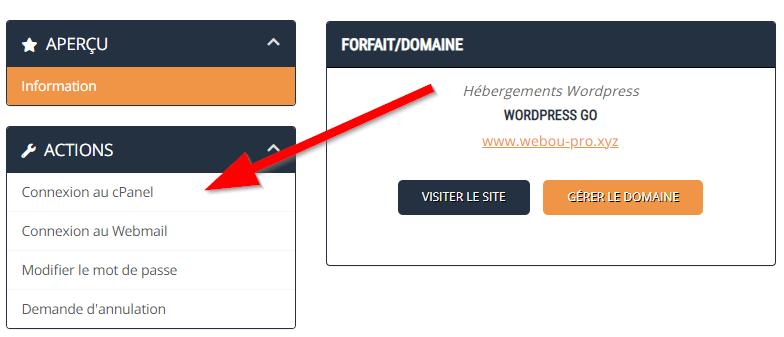 Espace client Webou Pro cPanel