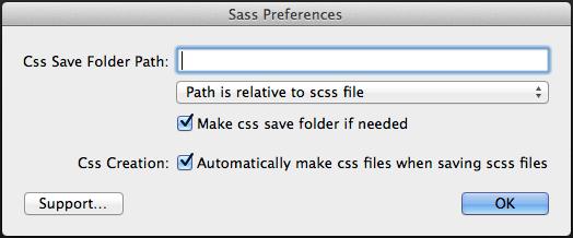 Coda Sass Plug-inの設定画面