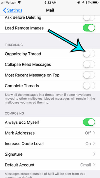 how to stop organizing emails by thread in mail on iphone