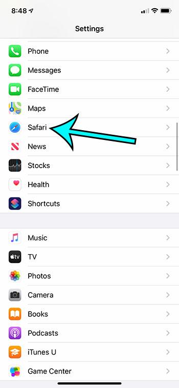 open the Safari settings menu