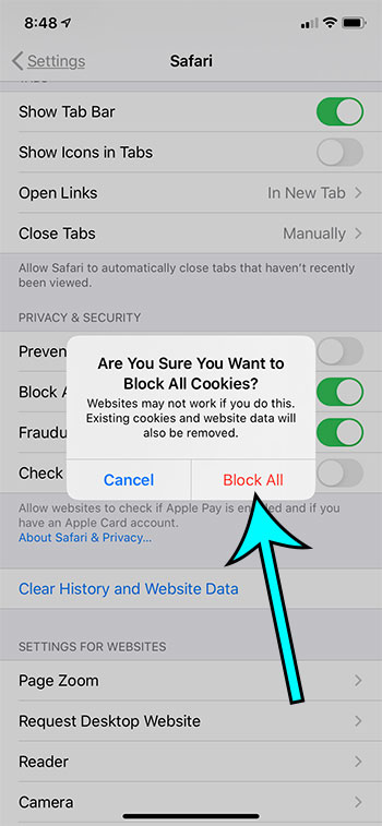 how to block all cookies in Safari on an iPhone