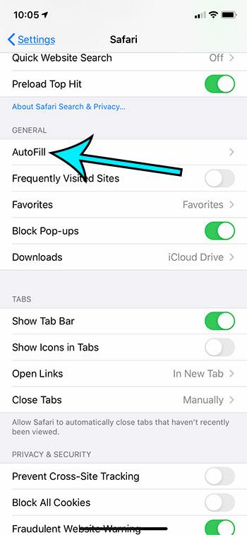 select the autofill option