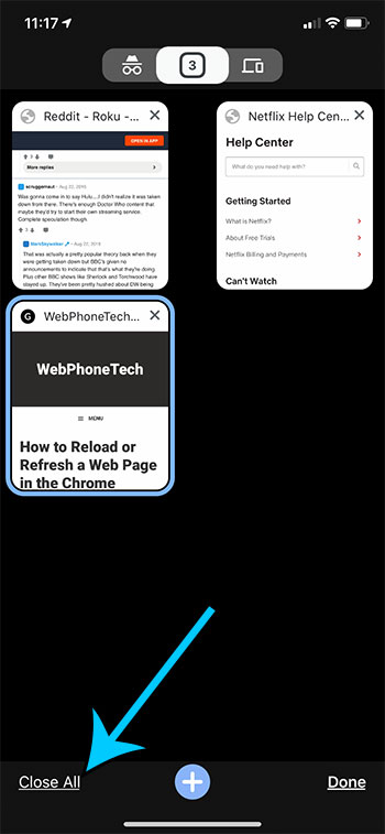how to close all tabs in Chrome on an iPhone