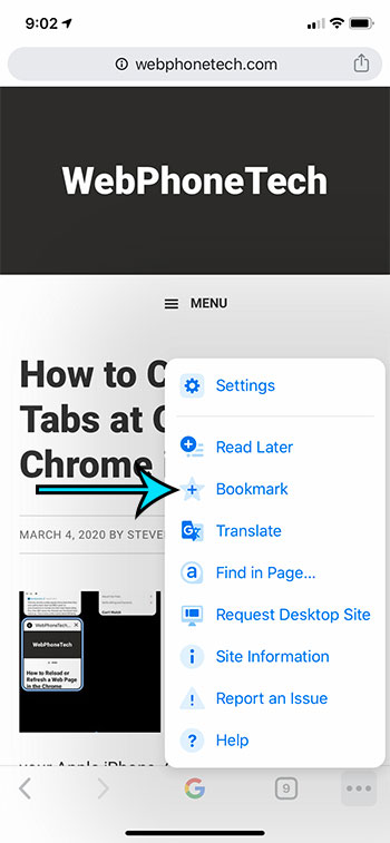 how to create a bookmark in Google Chrome on an iPhone