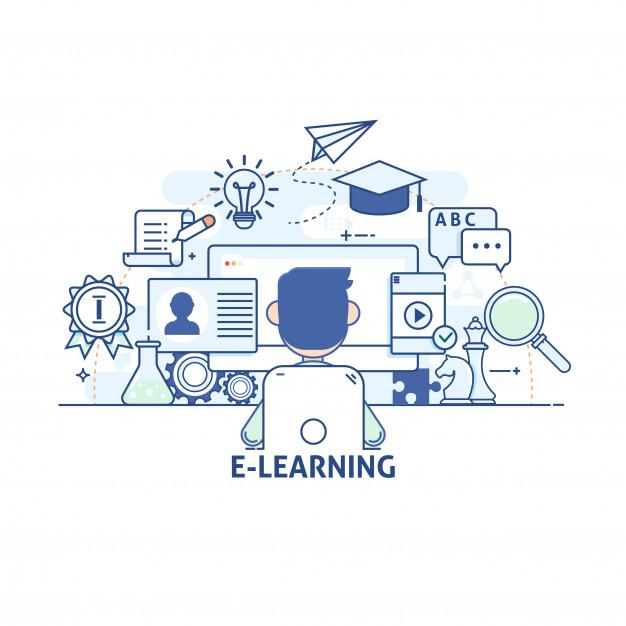 conceito-de-ilustracao-comunicacao-e-tecnologia-educacao-moderna-e-aprendizagem-pesquisa-tutorial-icones-de-vetor-de-tracado-linear-fino-