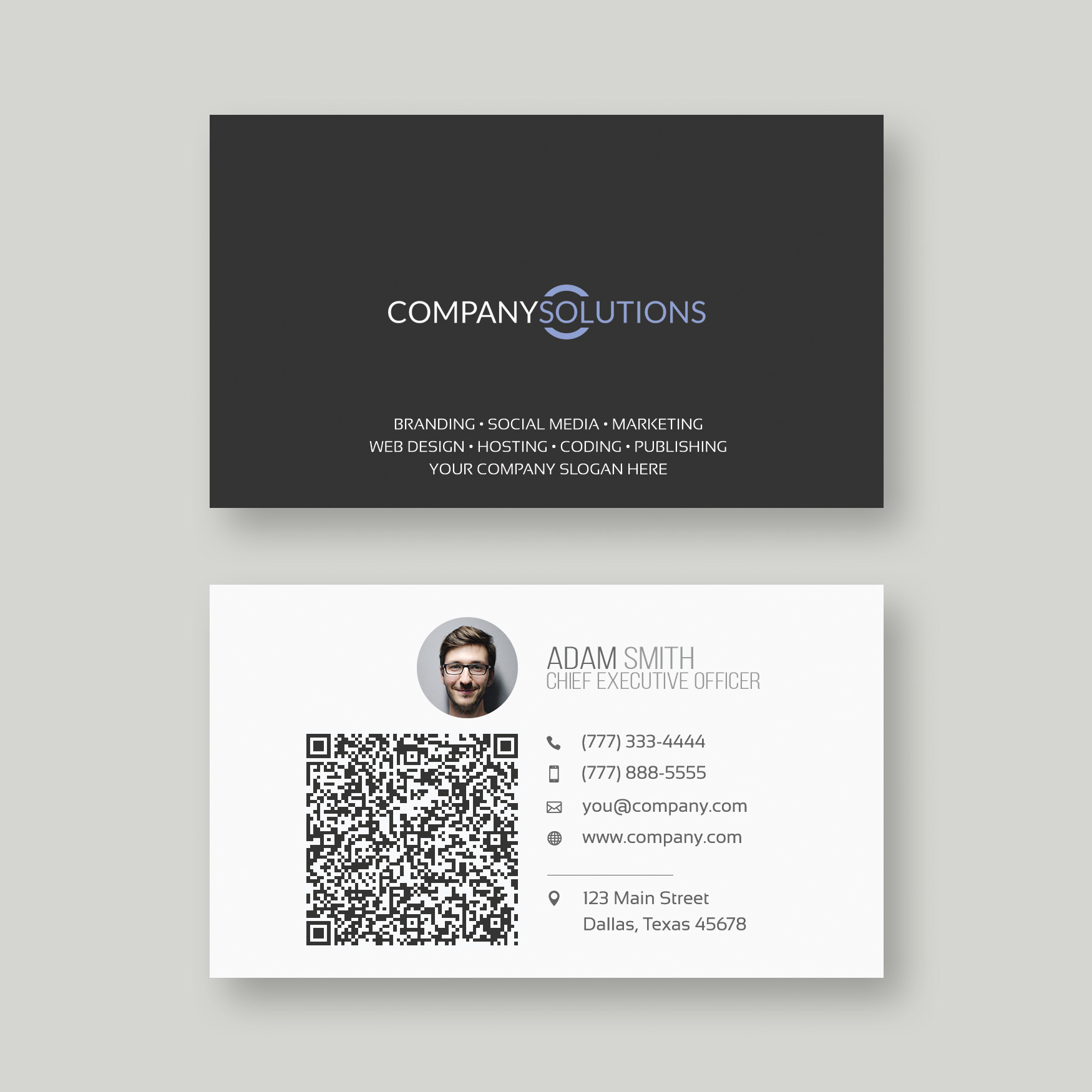 Modern qr code business card template web plant media modern qr code business card template colourmoves Images
