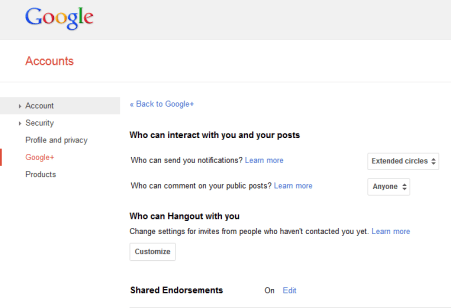 Google Plus settings page with Shared Endorsements enabled